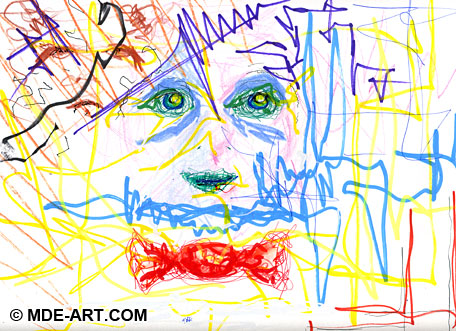 Abstract Expressive Drawing and Painting of Sad and Conflicted Faces and Piece of Red Candy