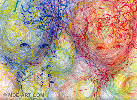 Abstract Impressionistic Drawing of Two Childrens Faces in Red and Blue Balloons