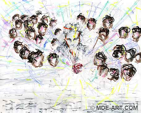 Abstract Drawing / Painting of Dan Eldon and Refugees