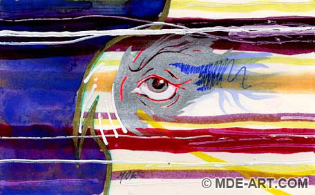 Abstract Drawing of Dan Eldon's Red Eye from Journals, The Journey is the Destination
