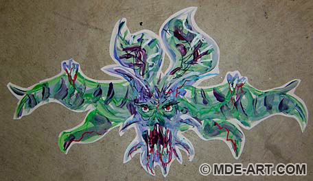 Painting of a scary Demon Bat decoration for a Halloween Party