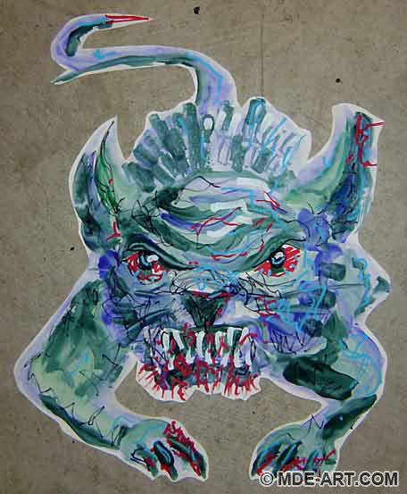Painting of a scary Demon Dog decoration for a Halloween Party