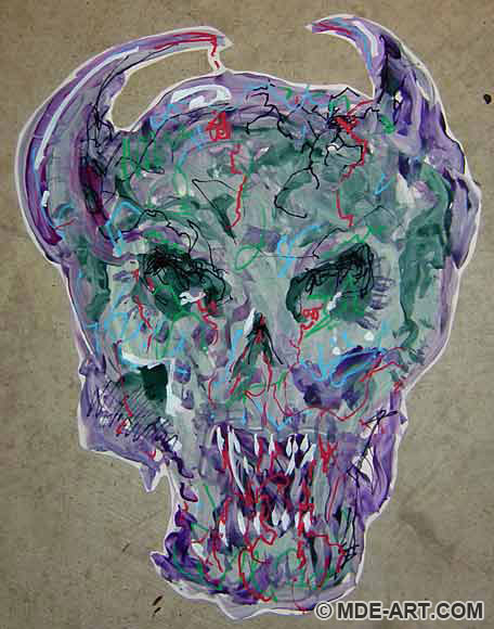 Painting of a scary Demon Skull decoration for a Halloween Party