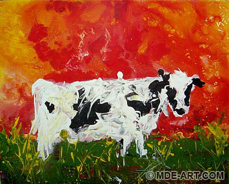 Acrylic Painting of a Cow