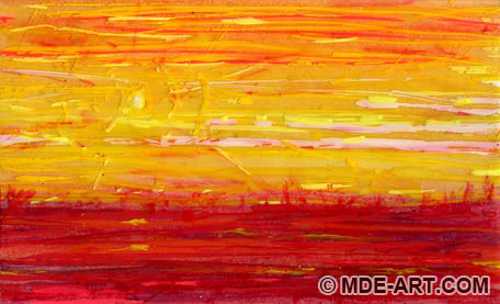 Impressionistic Yellow Sun Over Red Landscape Painting