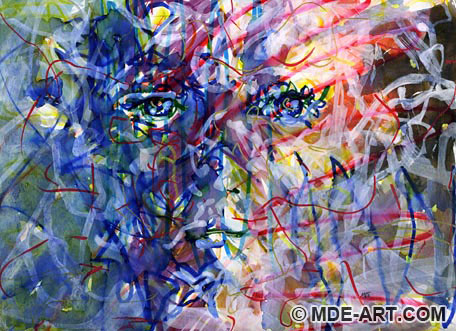 Expressive Abstract Drawing and Painting of a Colorful Face