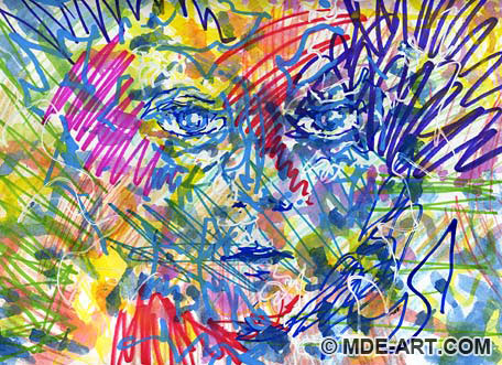 A colorful abstract painting and drawing of a face