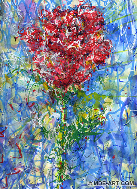 Colorful Abstract Painting and Drawing of a Rose