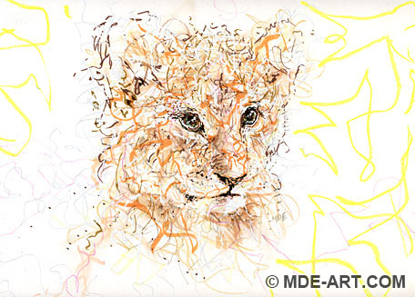 Drawing of a Lion Cub
