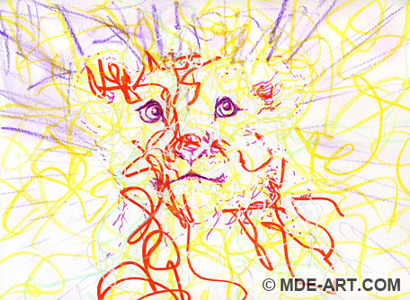 Abstract Drawing of a Lion Cub