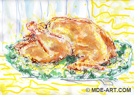 Painting and Drawing of a Cooked Turkey