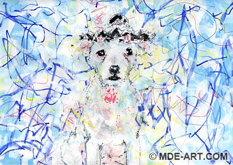 Painting and Drawing of a Jack Russell Terrier Dog Wearing a Sombrero