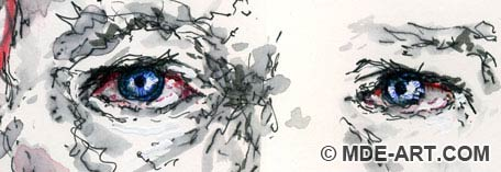 Pen Drawing of the Eyes of a Broken Heart - Face of Unrequited Love 01, Detail