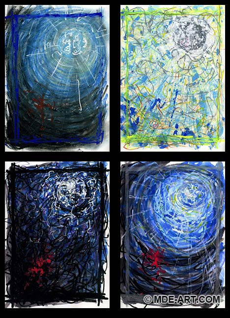 Abstract Drawings and Paintings of the Moon Seen Through Windows