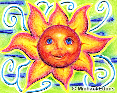 Sun Flower Crayon Drawing