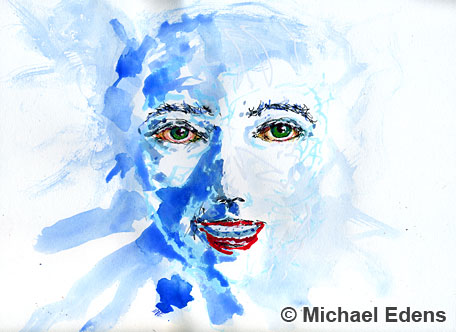 Abstract Drawing and Painting of a Blue Face