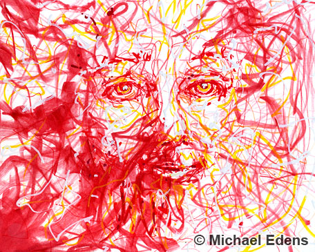 Abstract Drawing of a Red Face
