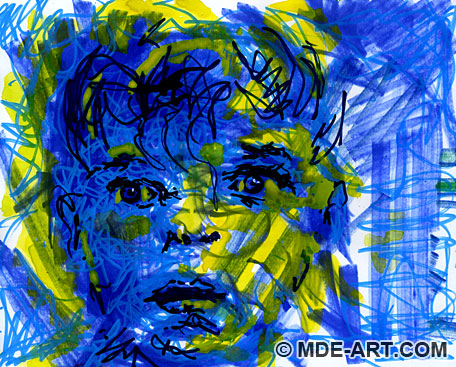 anime boy face sketch. Blue Boy | Abstract Drawing of