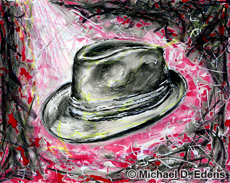 Drawing and Painting of a Fedora Hat in Memory of Michael Jackson
