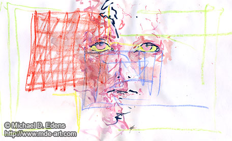 Pink - Abstract Portraits and Faces - Sadness and Frustration Series