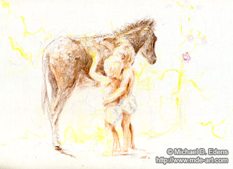 Burro with Children in Sunlight | Drawin| Drawing