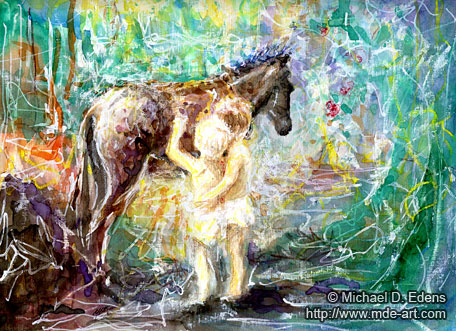 Burro with Children | Painting