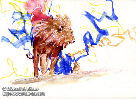 Lions - Drawing of a Big Lion and a Little Lion Cub