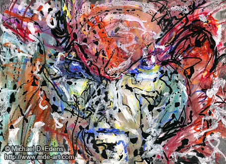 Drawing and Painting of an Abstract Demon Face 04