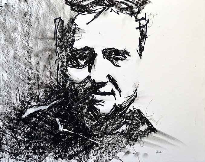 Charcoal Face of a Man