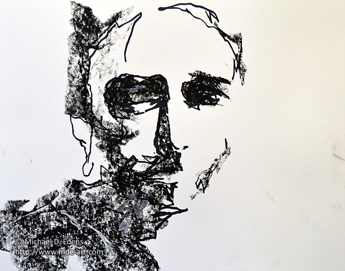 Abstract Face Line Drawing : Abstract charcoal portrait drawings