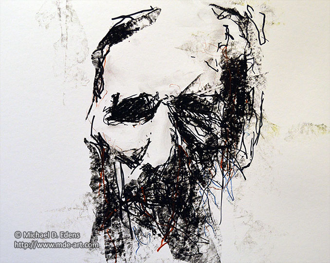 Charcoal Old Man Face
