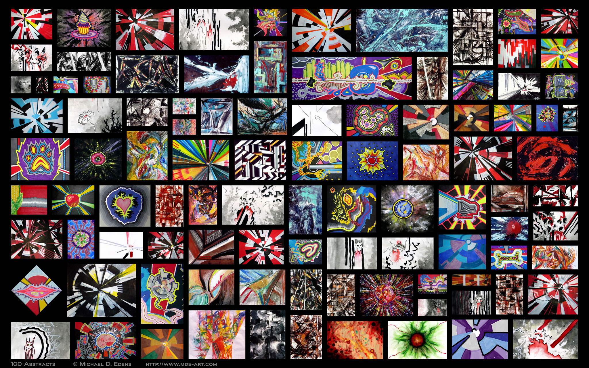 100 Abstracts - Collage of Artwork