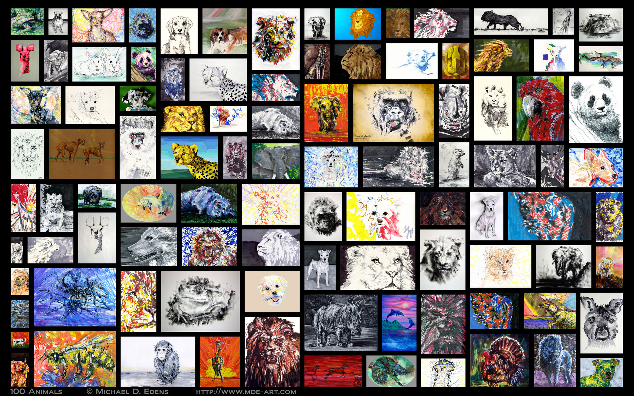 100 Animals – Collage of Artwork by Michael D. Edens