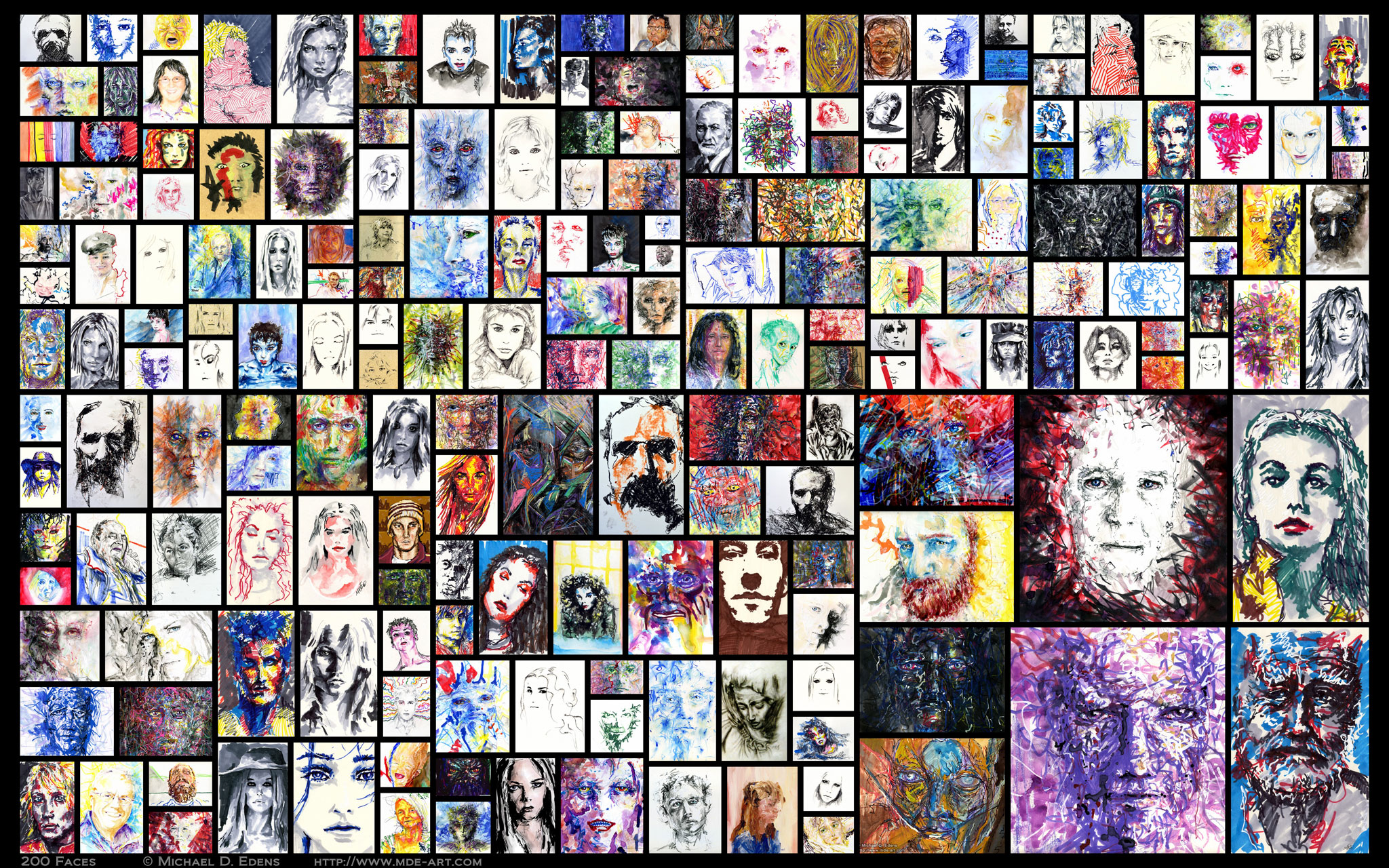 200 Faces – Collage of Artwork